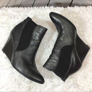 Stuart Weitzman Black Leather Wedge Booties